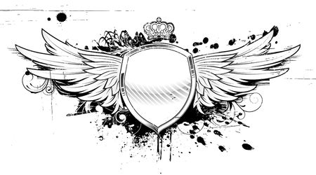 shield with wings: illustration of grunge heraldic shield or badge with two wings, crown and floral elements Stock Photo