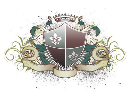 nobility: illustration of heraldic shield or badge with crown, banner, grunge and floral elements  Illustration