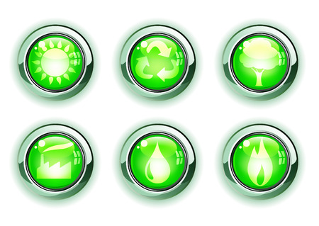 illustration set of green ecologe icons Vector
