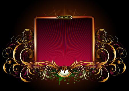 cartouche: illustration of titling golden frame with floral elements Illustration