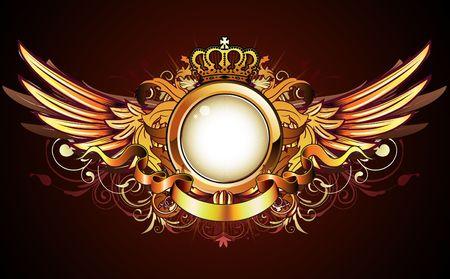 Illustration der heraldischen goldener Rahmen oder Abzeichen mit Krone, Flügel, Banner und floral elements Illustration