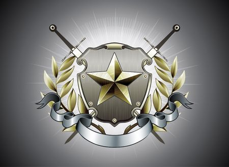 shield and sword: illustration of heraldic shield or badge with star shape, laurel wreath, banner and two swords