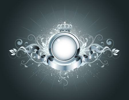 crown of light: illustration of heraldic frame or badge with crown, banner and floral elements