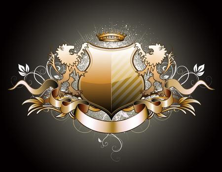 escudo de armas: Ilustraci�n de escudo her�ldico o insignia con dos leones, corona, banner y elementos florales