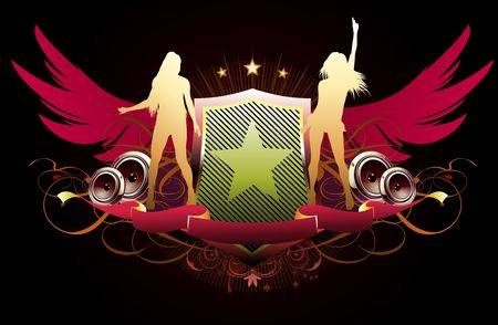 illustration of abstract party insignia with music design elements Vector