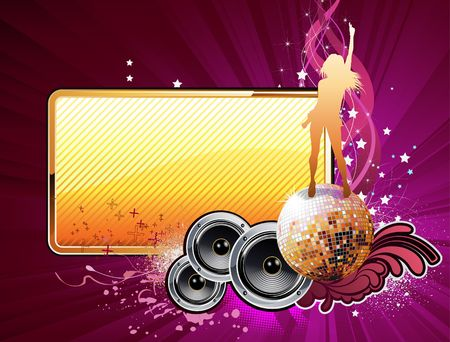 disco dancing: illustration of grunge abstract party frame with music design elements