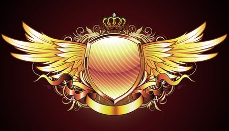 blazonry: illustration of golden heraldic shield or badge with two wings, crown, banner and floral elements