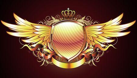escudo de armas: Ilustraci�n de oro escudo her�ldico o insignia con dos alas, corona, banner y elementos florales