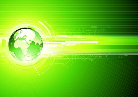 illustration of abstract hi-tech Background with Glossy Earth Globe   Vector
