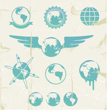 illustration set of cool retro emblems with grunge Earth Map Globe  Vector
