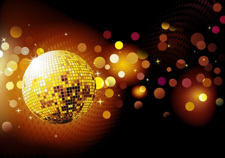 disco dancing: illustration of abstract party Background with glowing lights and disco ball
