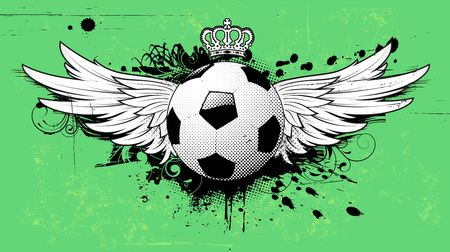 illustration of grunge football insignia or badge with two wings, crown and floral elements Illustration