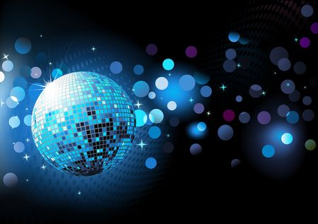 reflection in mirror: illustration of  blue abstract party Background with glowing lights and disco ball