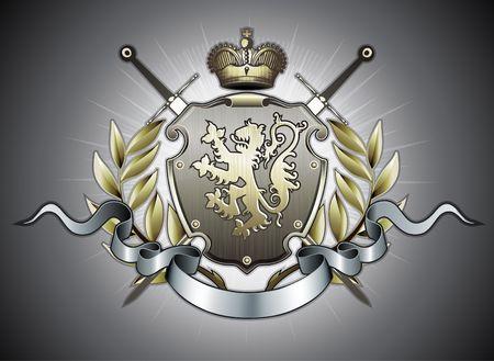 sistema operativo: Ilustraci�n de escudo her�ldico o insignia con dos espadas, Le�n de oro, corona, banner y elementos florales