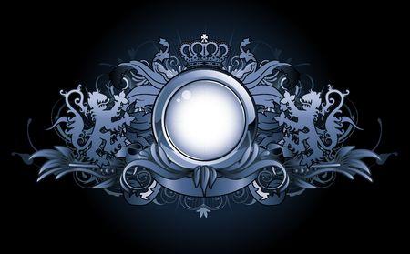 blasone: illustrazione di araldica cornice o distintivo con due leoni, corona, banner ed elementi floreali