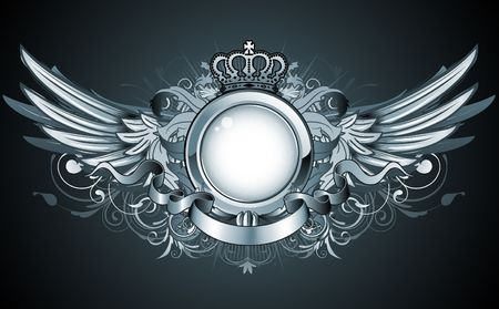 crown wings: illustration of heraldic frame or badge with crown, wings, banner and floral elements
