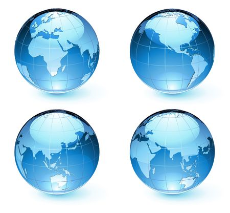 illustration of blue Glossy Earth Map Globes different angles  Vector