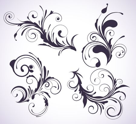 swirling: illustration set of four swirling flourishes decorative floral elements