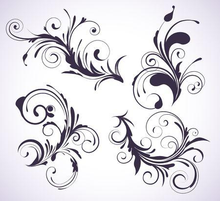 Ilustración conjunto de cuatro remolino florituras floral elementos decorativos Ilustración de vector