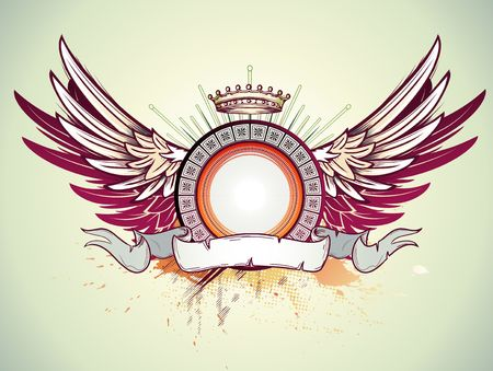illustration of heraldic frame or badge with crown, wings and banner. Blank so you can add your own images. Vector