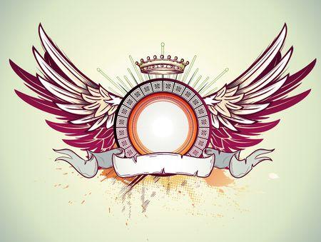 Ilustración de la fotograma heráldica o insignia con la corona, alas y banner. En blanco para que pueda agregar sus propias imágenes. Vectores
