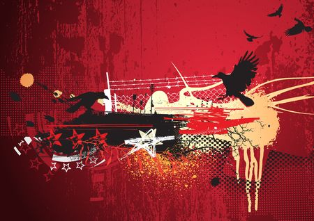 wire frame: illustration of red abstract urban background with  grunge Design elements