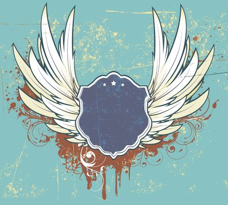 illustration of grunge frame or badge  with two wings and floral elements Stock Illustration - 6789789