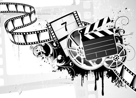 movie pelicula: Ilustraci�n del grunge abstracto a fondo con el elemento de dise�o para el dise�o de tema de pel�cula pel�cula