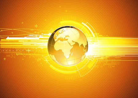 illustration of abstract hi-tech Background with Glossy Earth Globe Stock Illustration - 6891472