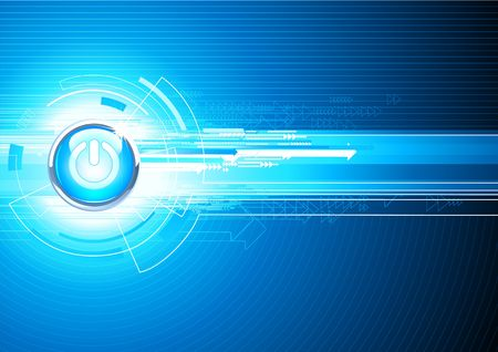 power button: illustration of abstract hi-tech Background with Glossy power button