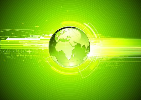 illustration of abstract green hi-tech Background with Glossy Earth Globe   illustration
