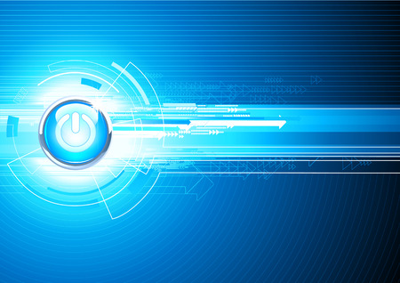 illustration of abstract hi-tech Background with Glossy power button Vector
