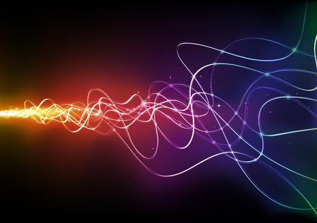 illustration of  futuristic abstract glowing background resembling motion blurred neon light curves