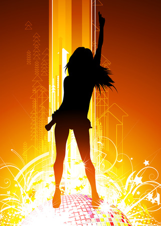 illustration of abstract party Background with glowing lights, disco ball and girl silhouette