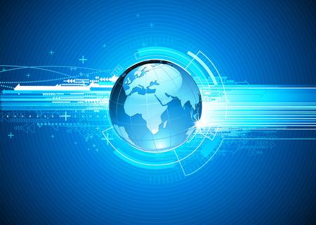 illustration de salut-technologie abstraite de fond avec Globe de la Terre Brillant