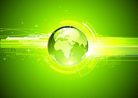illustration of abstract green hi-tech Background with Glossy Earth Globe   Vector