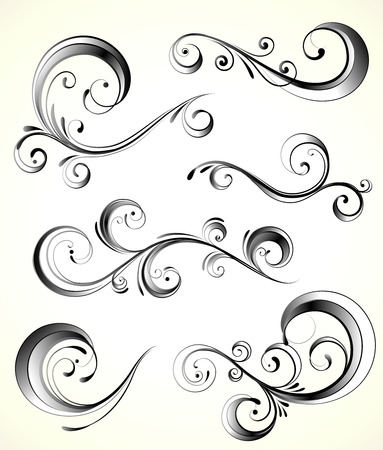 swirly: illustration set of swirling flourishes decorative floral elements