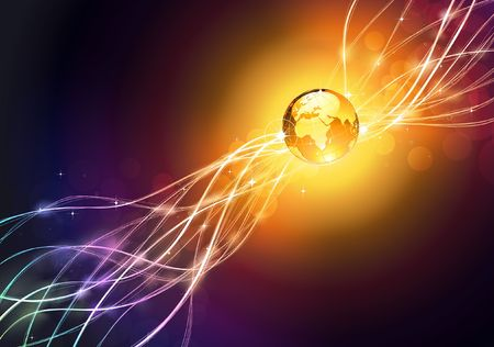 illustration of  futuristic abstract glowing background resembling motion blurred neon light curves with Glossy Earth Globe  illustration