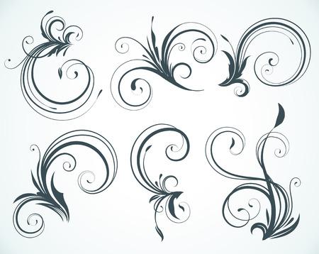 illustration set of swirling flourishes decorative floral elements Stock Vector - 6989674
