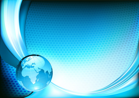 spotty: illustration of  futuristicblue  abstract spotty background resembling motion blurred neon light curves with Glossy Earth Globe