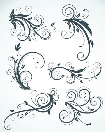 conjunto de ilustración de giran florituras elementos decorativos de floral  Ilustración de vector