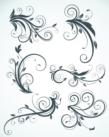 flourishes: illustration set of swirling flourishes decorative floral elements