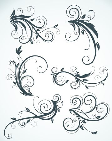 swirling: illustration set of swirling flourishes decorative floral elements