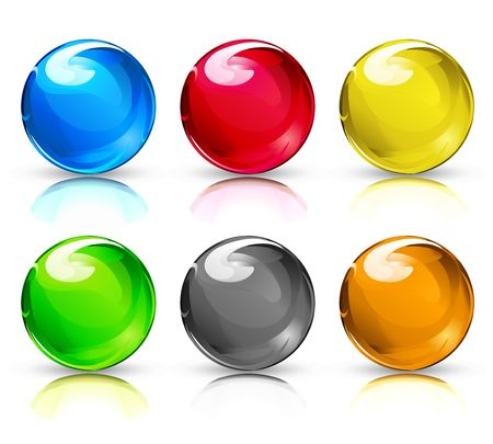 refracting: illustration set of colouful refracting Glass ballsbutton spheres on a white background.