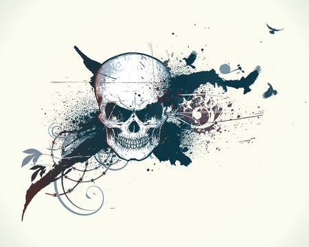 leven en dood: afbeelding van abstracte rommelige achtergrond met grunge ontwerp elementen en gedetailleerde menselijke schedel