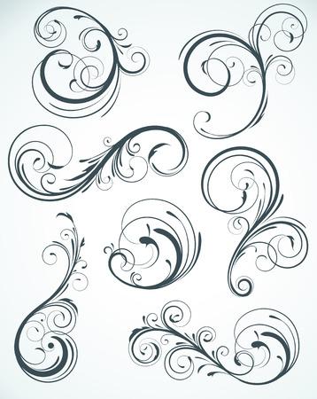 conjunto de ilustración de arremolinamiento florituras elementos decorativos de floral  Ilustración de vector