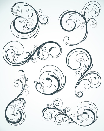 illustration set of swirling flourishes decorative floral elements  Stock Vector - 6989709