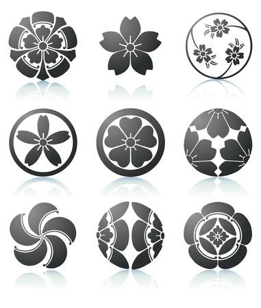illustration définie des éléments graphiques Sakura abstraits dans un style japonais  Vecteurs