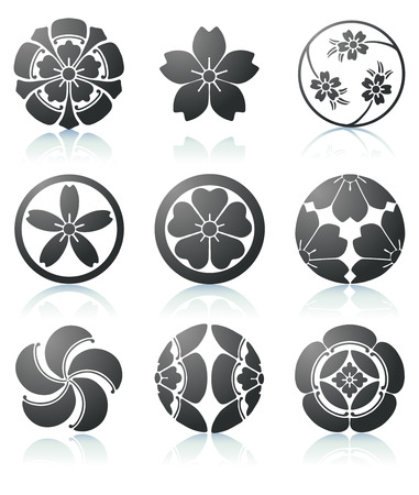 sakura flowers: illustration set of abstract Sakura graphic elements in japanese style