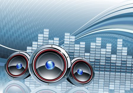 illustration of abstract party Background with three cool speakers Stock Illustration - 6989742